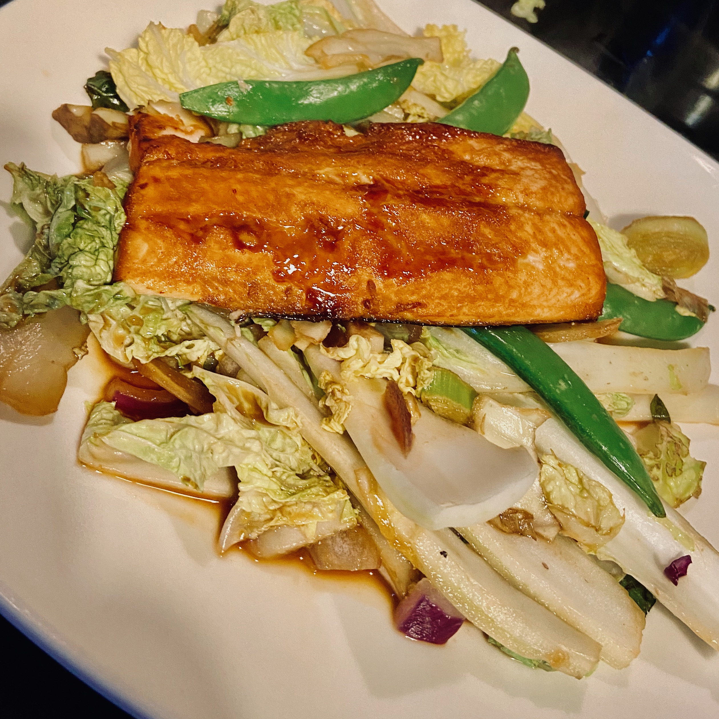 Salmon with ginger & honey glaze